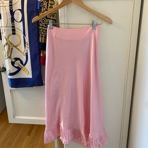 & Other Stories Ruffled Pink Crepe Midi Skirt